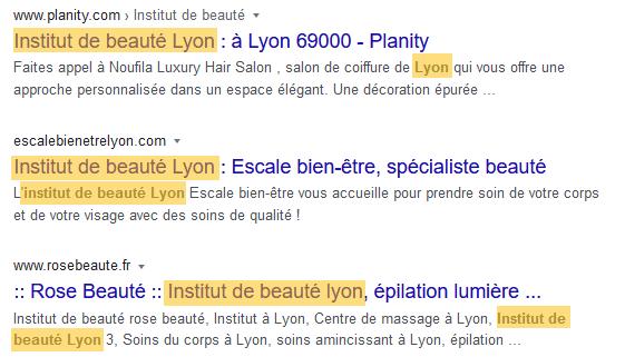 """Capture d'écran des résultats proposés par Google à la requête """"institut beauté lyon"""""""