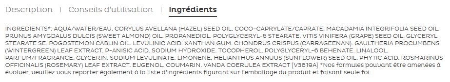 Liste des ingrédients d'une crème Clarins en vente sur une boutique en ligne
