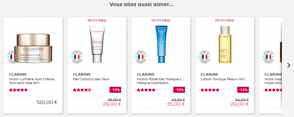Carrousel présentant une sélection de produits cosmétiques complémentaires